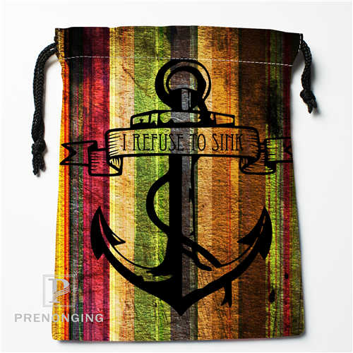 Custom Wood And Anchor@01 Drawstring Bags Printing Fashion Travel Storage Mini Pouch Swim Hiking Toy Bag Size 18x22cm #171208-06