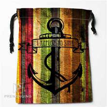 Custom Wood and Anchor 01 Drawstring Bags Printing Fashion Travel Storage Mini Pouch Swim Hiking Toy