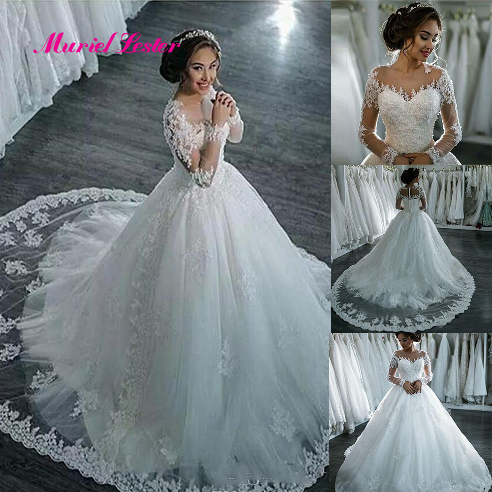 Vestidos De Noiva 2019 Elegant Long Sleeve Bride Wedding Dress Tulle Appliques Beaded Princess Lace Ball Gown Wedding Dresses