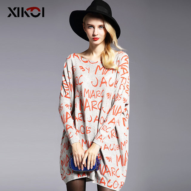 XIKOI suéteres de mujer de gran tamaño Casual de manga larga de murciélago ropa de impresión de letras suelta suave Pullover de Moda Ropa