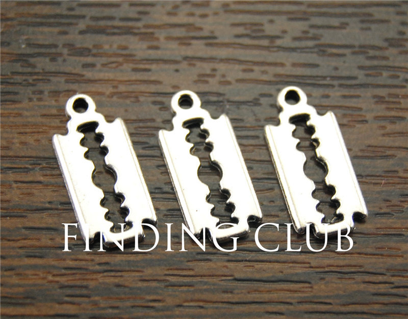 50 Pcs Razor Blade Charms Antique Silver Tibetan Tone Double Sided Diy Metal Bracelet Necklace Jewelry Findings A1143 Unequal In Performance Jewelry Sets & More