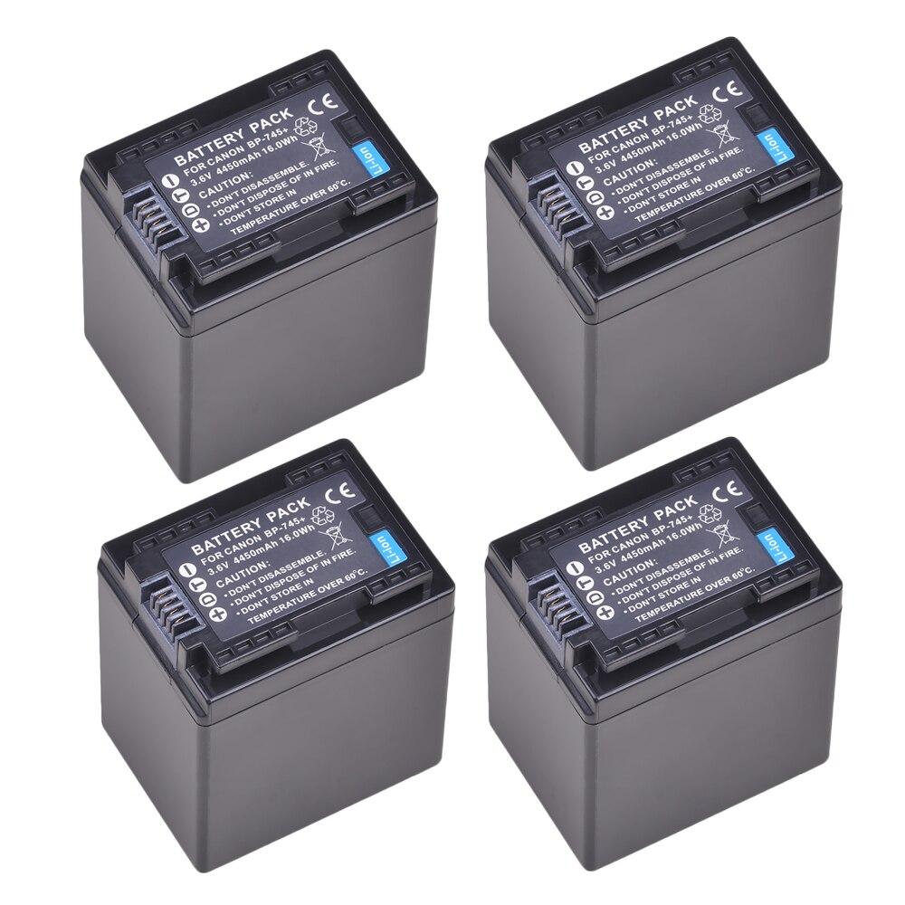4 Pc 4450 mAh BP-745 BP-727 BP-718 BP745 BP727 batería Akku para Canon BP-709 BP-718 BP-727 BP-745 BP709 BP718 BP727 BP745 HF406 R3 KUULAA batería externa 20000 mAh USB tipo C PD carga rápida + carga rápida 3,0 batería externa 20000 mAh para Xiaomi iPhone