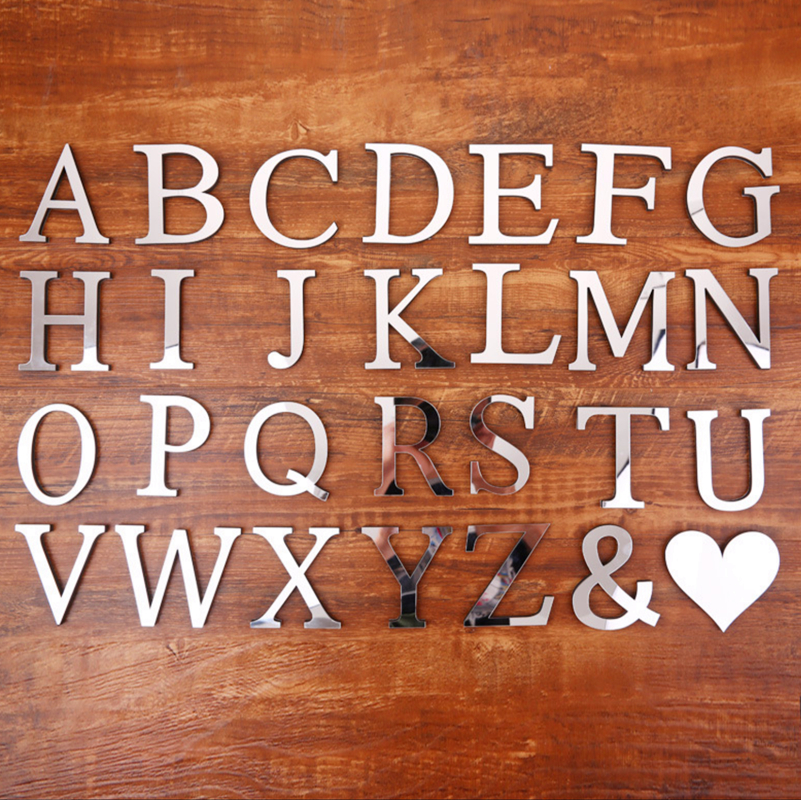 Bocadodo DIY Silver Acrylic Letters 26 English Freestanding Alphabet Lights Bridal Wedding Party Room Decorations Crafts