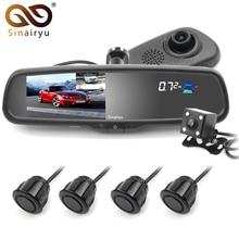 Sinairyu 5″ Car Dash Camera DVR Dual Lens Rearview Mirror Video Recorder 1080P Automobile DVR Mirror with 4 Parking Sensor