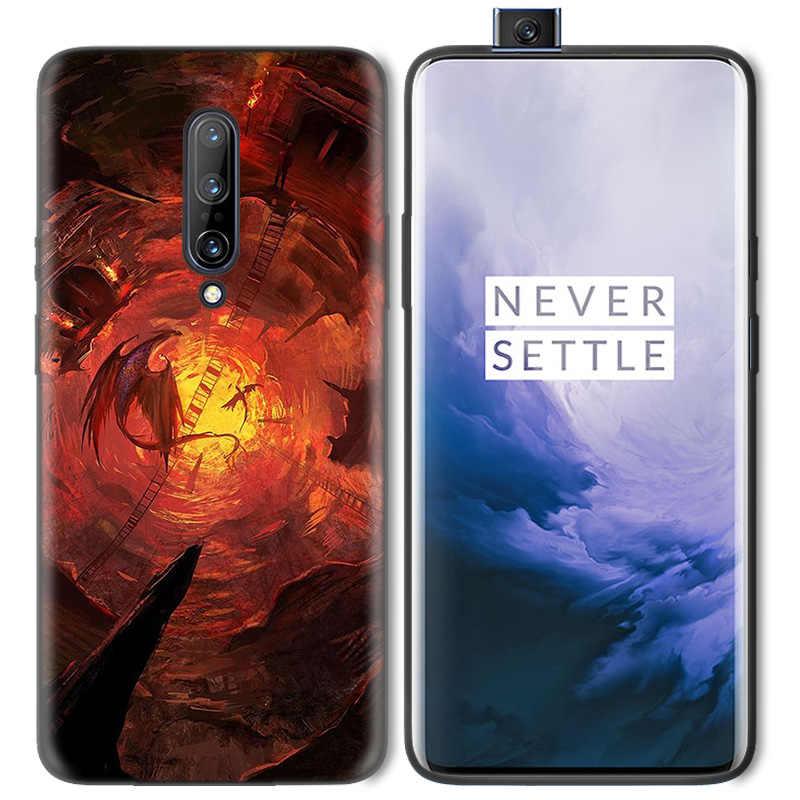 ธุรกิจรูปแบบโทรศัพท์สีดำยางซิลิโคนสำหรับ 1 + Oneplus 6T กรณี 6 7 Pro 5G Fundas Shell Bloodborne