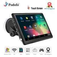 Podofo Car GPS Navigation FM Bluetooth AVIN 7 HD Touch Screen Sat nav Truck Win CE 6.0 gps navigators automobile with Free Maps