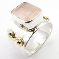 Fine Silver Rose Quartzs Finger Ring Size 6.75 Gem Stone Art Jewelry Unique Designed