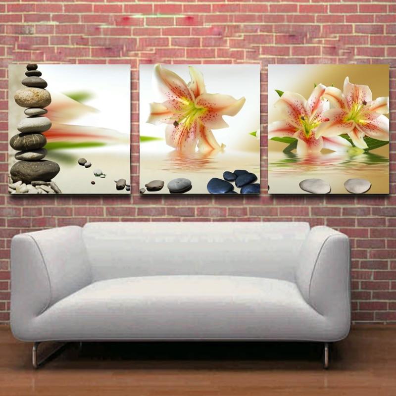Bez rámů 3 panely Obrazy na plátně Moderní obrázky a elegantní malba na dlážděné stěně Obraz na plátně v obývacím pokoji