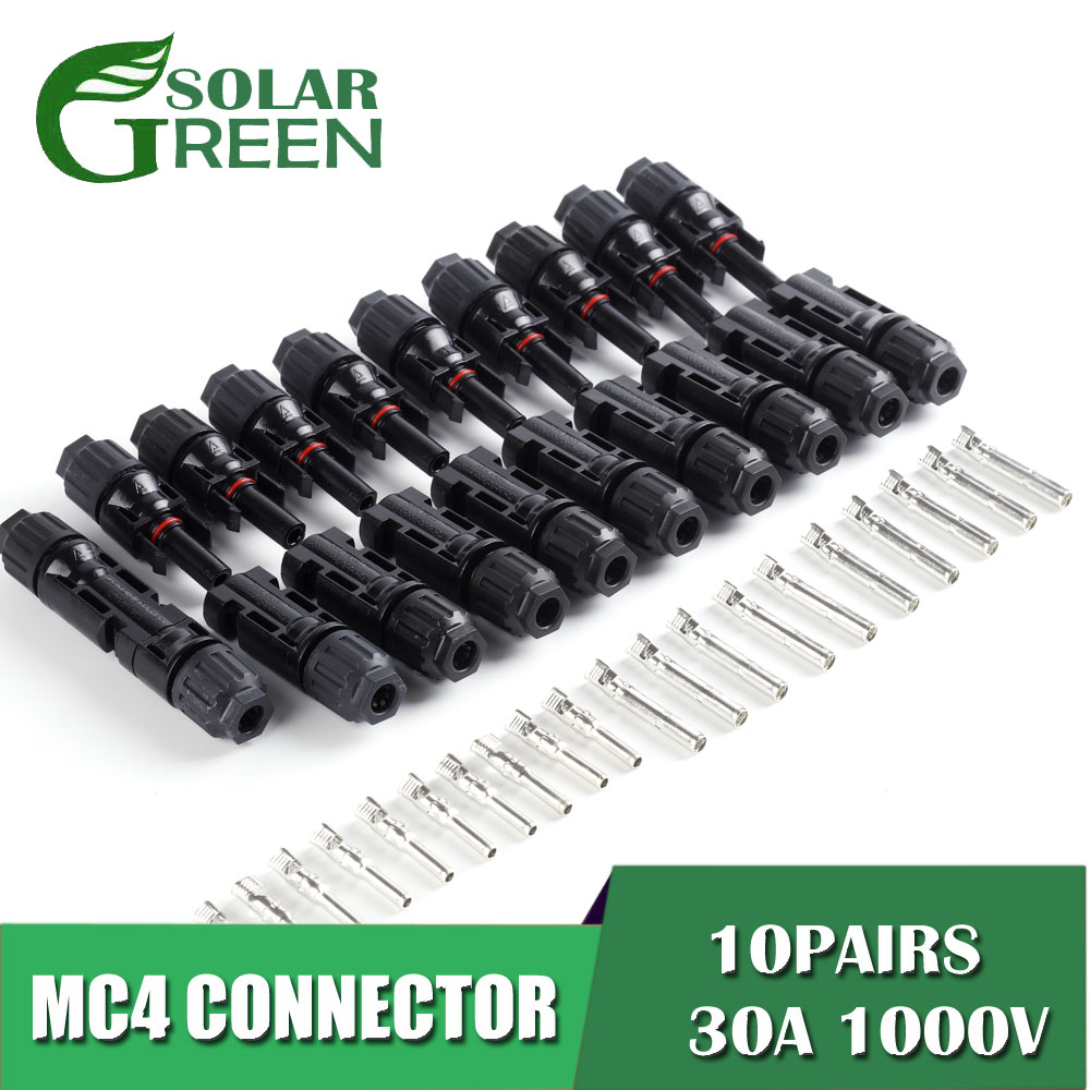 10pairs X MC4 Connector Male Female 30A 50A 1000V MC4 Solar Panel Branch Series Connect Cable Power Plug 2.5/4/6mm2