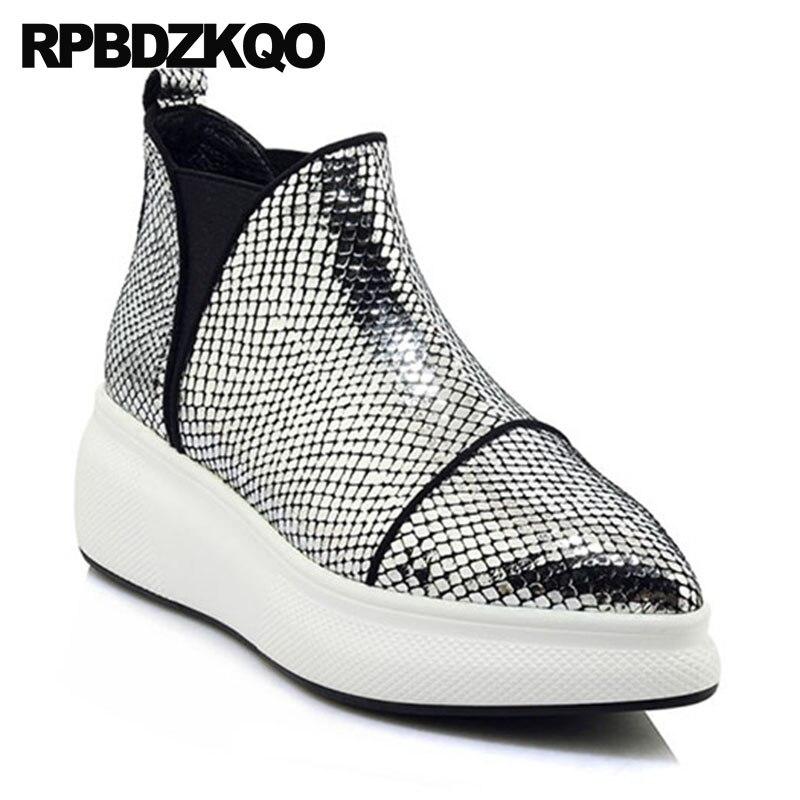 2591985c25bd67 Noir Bout Femmes Verni Bottes Cuir Chaussures Sneakers En Marque Cheville  Véritable Argent Haute Wedge D'hiver Talon Flatform argent Muffin ...