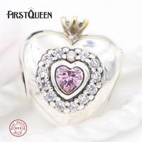 FirstQueen Prinses Hart, roze CZ Charm Kralen Past armband charme argent 925 benodigdheden voor sieraden groothandel