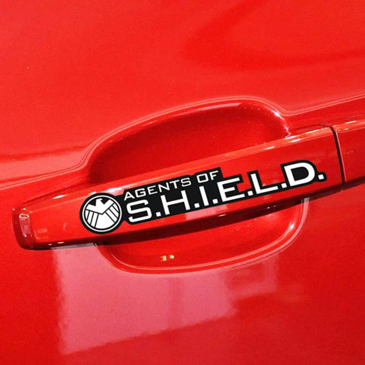 Aliauto 4 x Agents of shield car Door handle stickers Decal for Toyota Chevrolet cruze VW Polo Golf Honda Hyundai Kia Lada opel