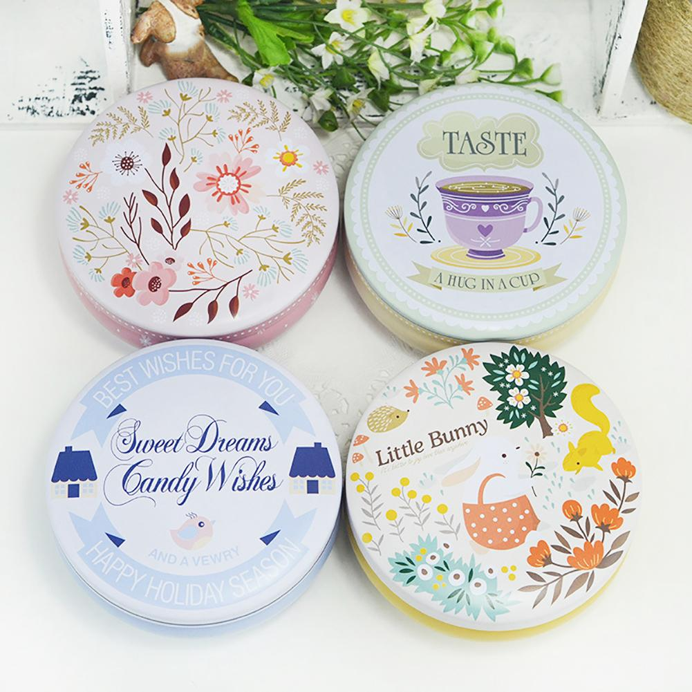 Flower Bunny Tinplate Party Candy Gift Tea Storage Box Round Cookie Container Set