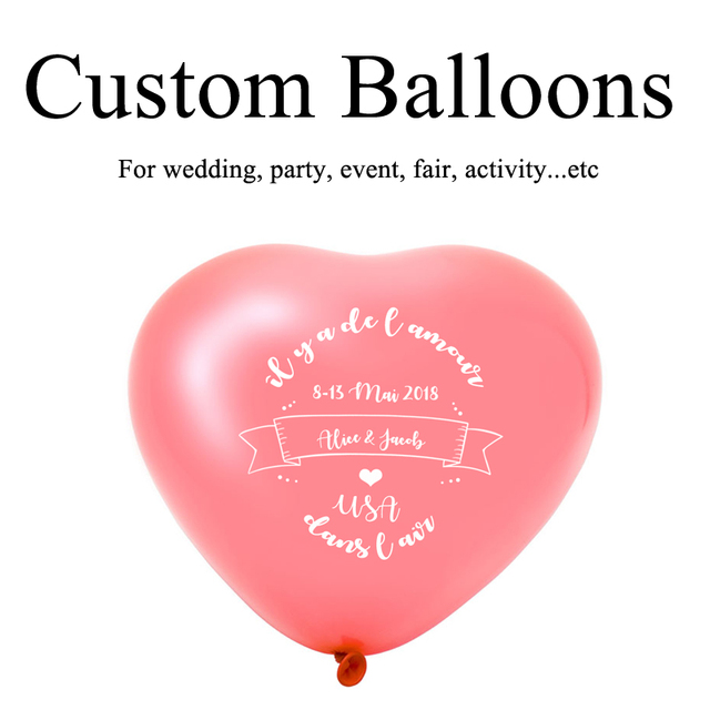 Custom Heart Shape Balloons Personalized Party Print Name Logo For Wedding Birthday Baby Shower Advertising