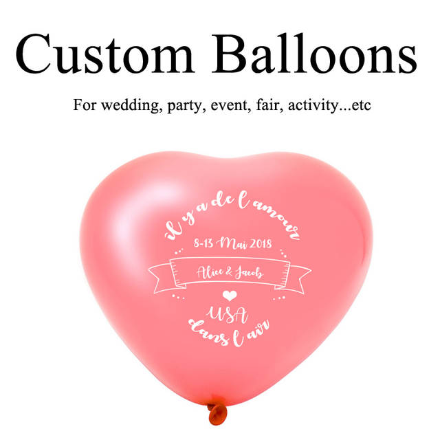 Online Shop Custom Heart Shape Balloons Personalized Party Print Name Logo For Wedding Birthday Baby Shower Advertising