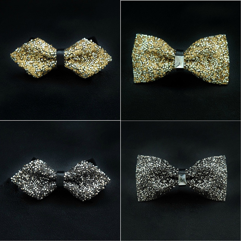 CityRaider Self Tie Bowtie With Rhinestone Gold Silver Pre-Tied Bow Ties For Men Tuxedo Tie Novelty Glitter Tie For Wedding C026