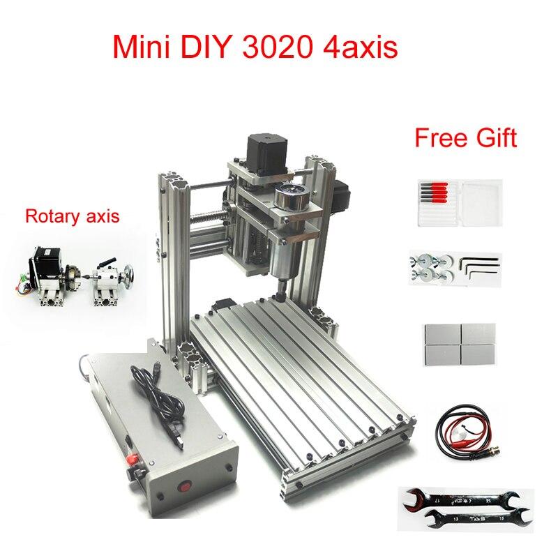 4 axis mini CNC lathe 3020 cnc milling machine 300*200mm working area full metal CNC engraving machine4 axis mini CNC lathe 3020 cnc milling machine 300*200mm working area full metal CNC engraving machine