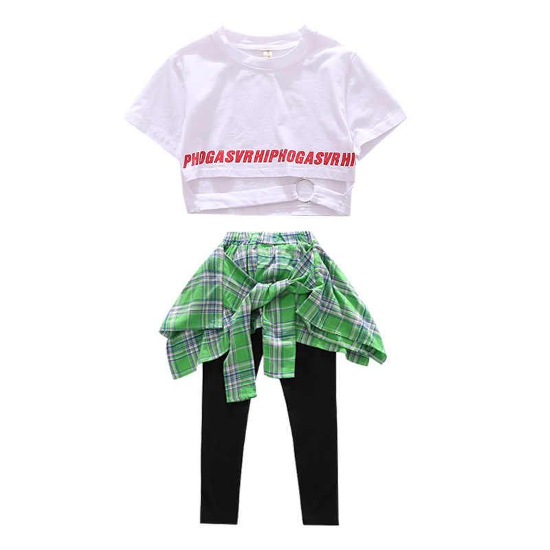 Mode Meisjes Dans Kostuum Hiphop Rave Outfit Jazz Podium Slijtage Straat Dansvoorstelling Kleding Praktijk Slijtage Voor Kinderen DC2222