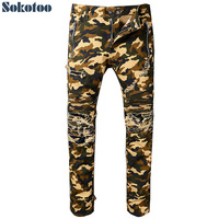 Sokotoo Men S Camouflage Printed Biker Jeans Slim Fit Destroyed Stretch Cotton Denim Pants With Zipper