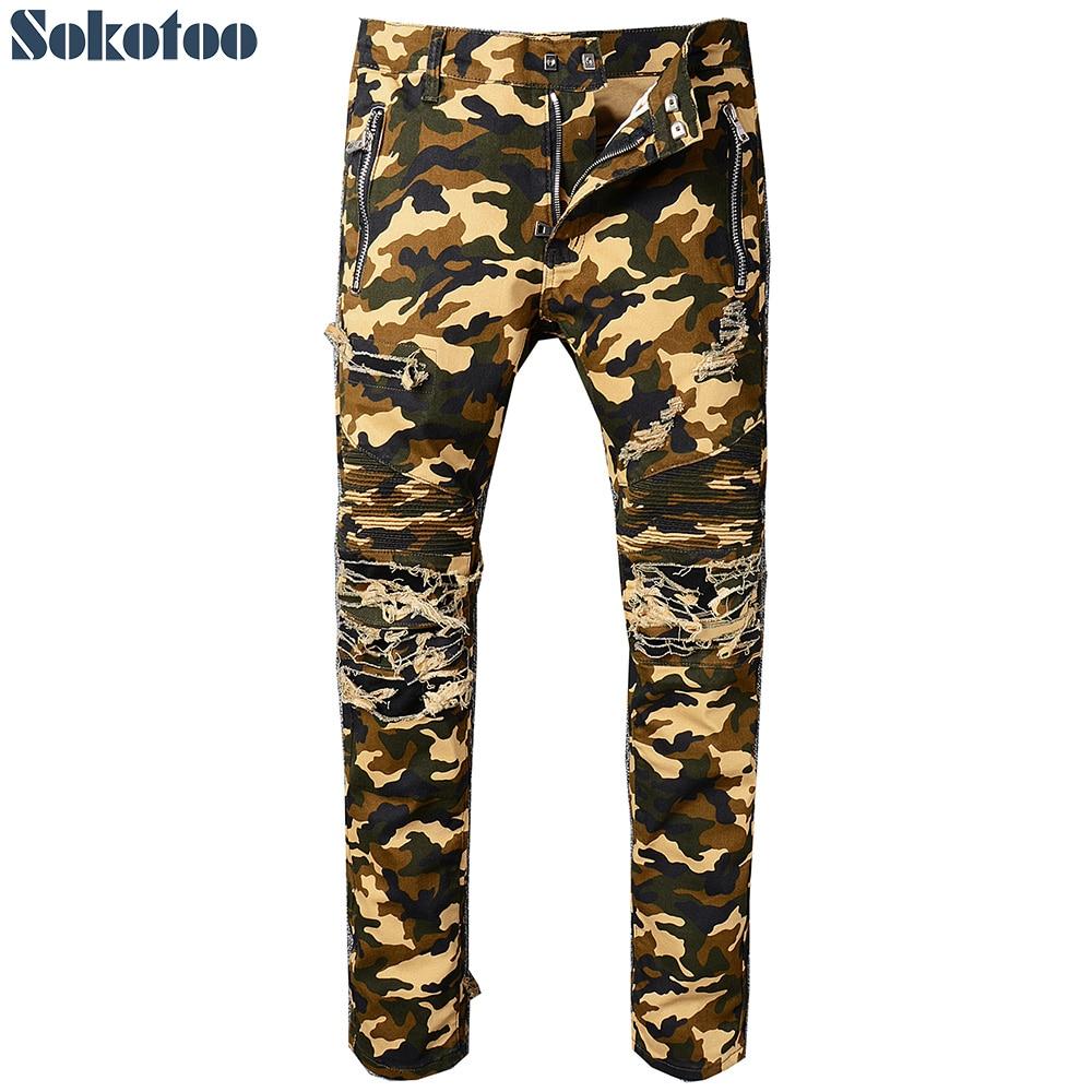 Sokotoo Men's camouflage printed biker jeans Slim fit destroyed stretch cotton denim pants with zipper for moto slim fit zip fly destroyed biker jeans