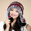 Venta 2016 gorros de invierno sombrero de piel para las mujeres de punto de piel de conejo rex sombrero con flor de piel de zorro superior tamaño libre de las mujeres ocasionales sombrero TM5