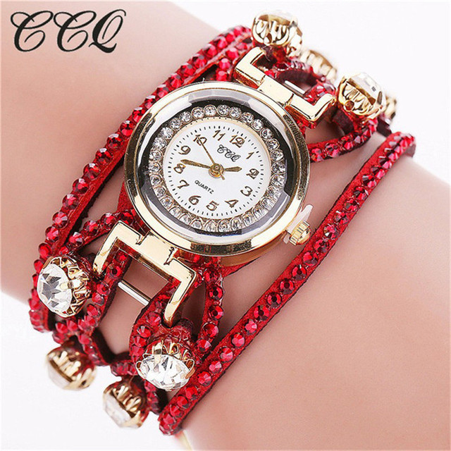 CCQ Luxury Brand Ladies Watches Vintage Leather Bracelet Watch Women Wristwatche