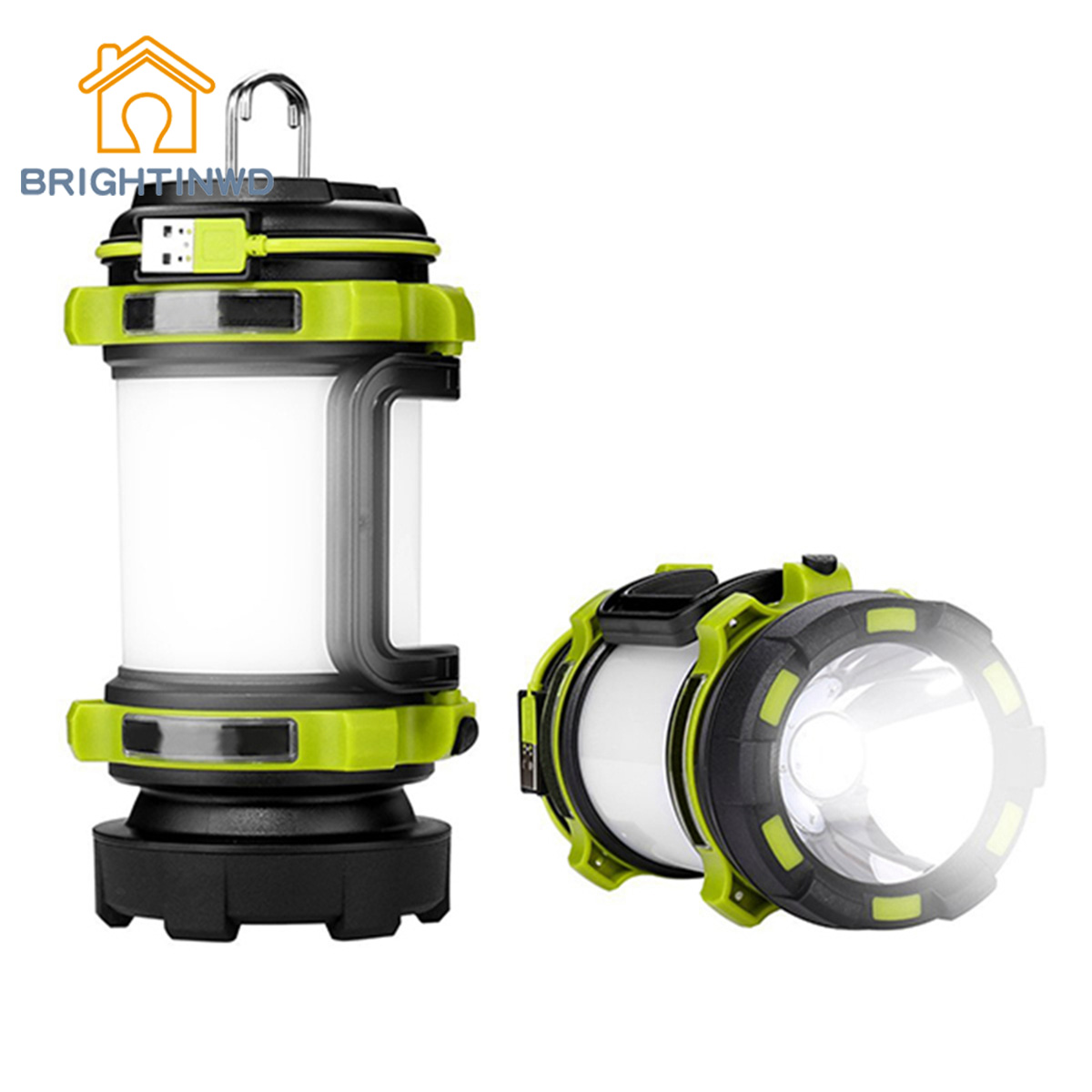 BRIGHTINWD LED Camping Lantern Spotlight Flashlight Waterproof Rechargeable 2600mAh Power Bank DC5V Hiking Emergency Tent
