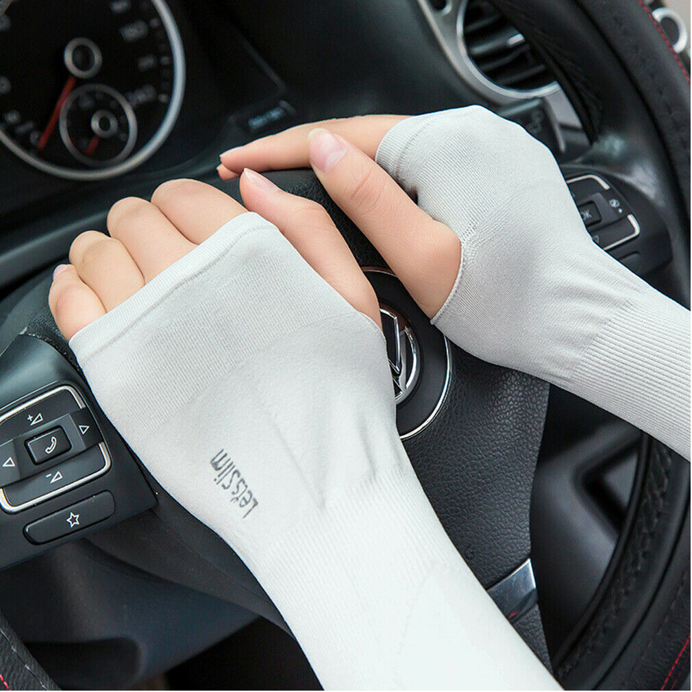 1Pair UV Sun Protection Cooling Arm Sleeve Cover Quick Dry Driving Basketball Sport Arm Cycling Soft Cooling Sleeves Gloves