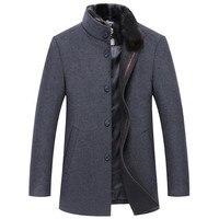40% Wool Coats Casaco 2018 Inverno Single Button Mens Overcoat Windproof Men Cloths Slim Coats For Men 17122