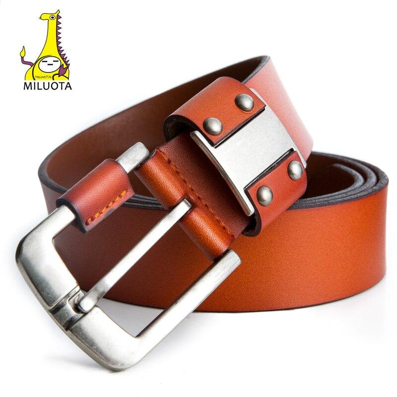 MILUOTA  véritable ceinture en cuir hommes de luxe sangle mâle ceintures  pour hommes boucle ardillon vintage jeans cintos mode ceinture homme MU206  dans ... dc5fedf18a2
