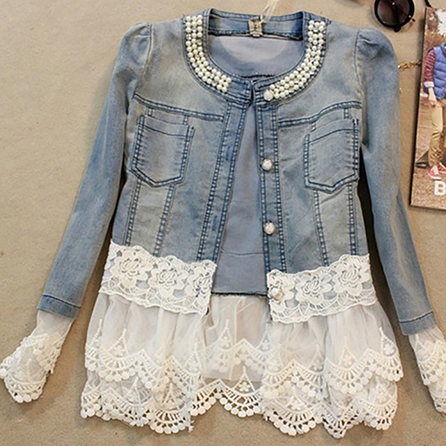 Lady Lace Stitching Denim 3/4 Sleeve Slim Imitation Pearl Jacket