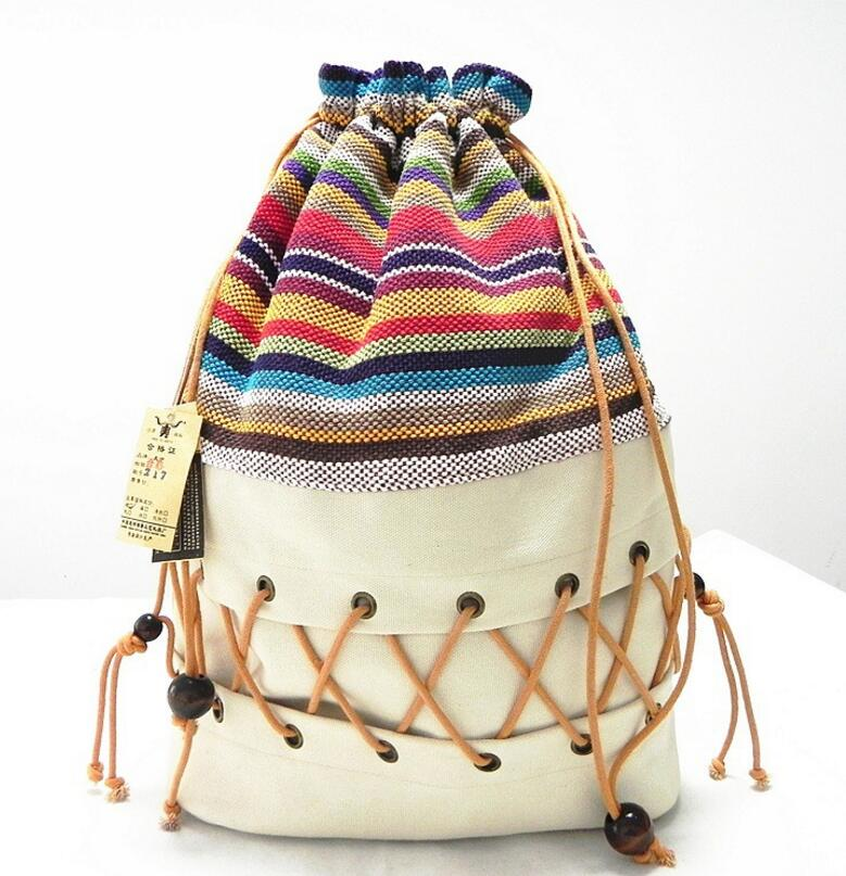 Original ethnic canvas sack pack lady cotton printed colorful backpack teenage straw string follow out strip
