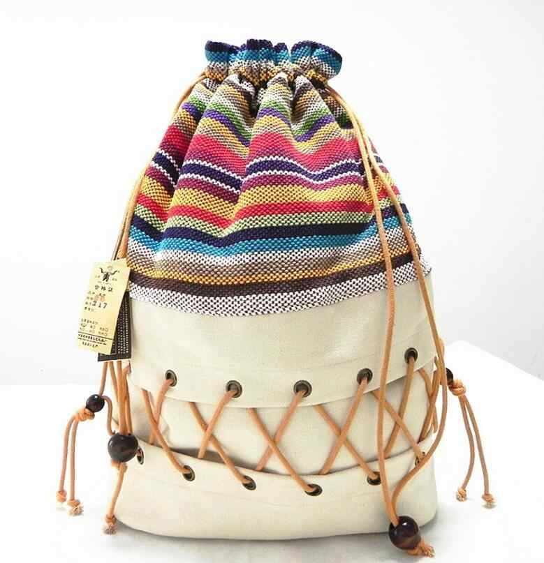 Оригинальный этнический холщовый мешок пакет леди хлопка красочные рюкзак подростковый соломы Строка следовать из газа мешок