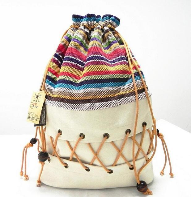 Original da lona étnica saco pacote senhora algodão estampado colorido mochila adolescente corda seguir fora saco tira de palha