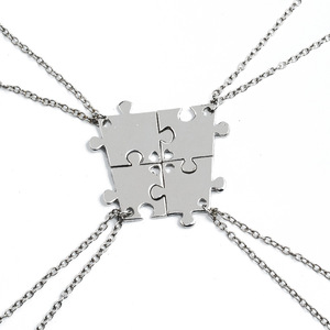 Necklace Set For FAmily Interlocking Jigsaw Puzzle Pendant Necklace Friendship Jewelry BFF Necklaces Best Friends Chokers For 4(China)