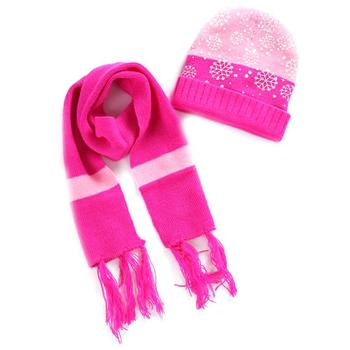 4Colors Snowflake Winter Warm Knitted HatScarf Set for 6 Months to 4 Years Old Children