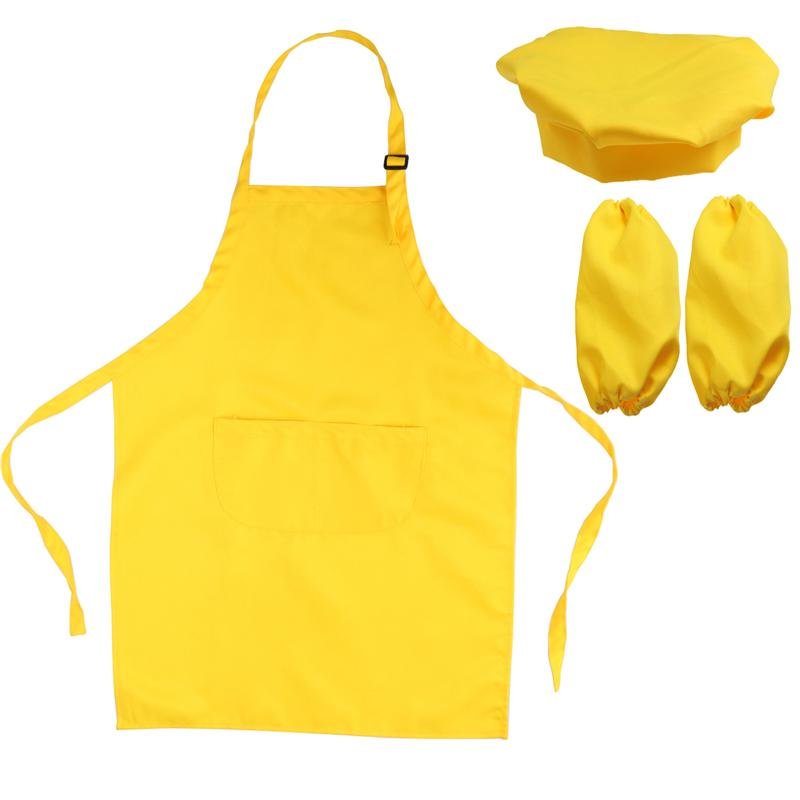 Aomily 1 Set Polyester Kids Apron And Chef Hat Child Cooking Baby Apron Junior Chef Cook Apron Painting Apron Family Supplies Baking & Pastry Tools