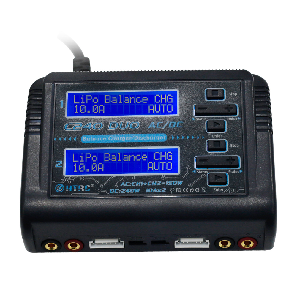 HTRC C240 DUO AC 150W /DC 240W Dual Channel 10A RC Balance Charger discharger for LiPo LiHV LiFe Lilon NiCd NiMh Pb battery-in Parts & Accessories from Toys & Hobbies    2
