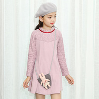 Lace Crochet Floral Children Girls Dress 2018 Autumn Winter Spring Grey Big Baby Girls Clothes Party