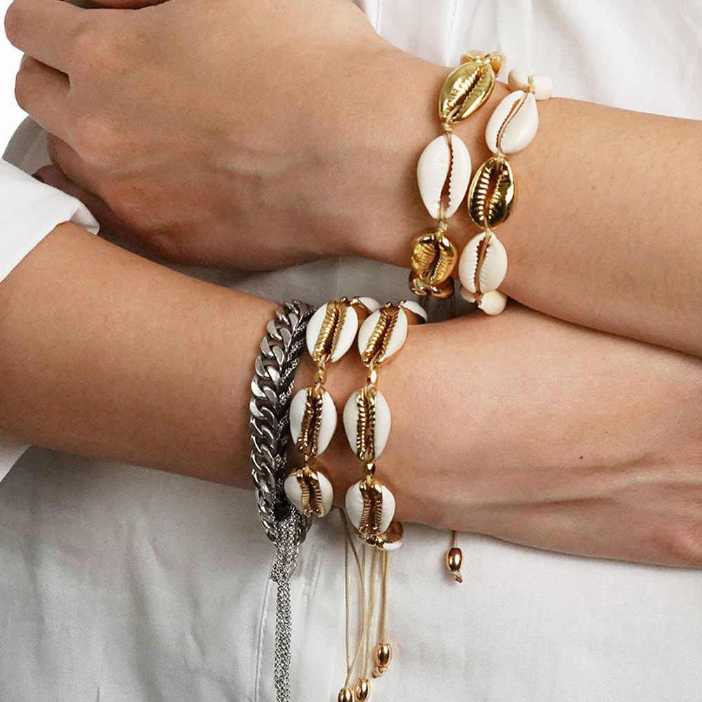 Moda Cowrie biżuteria powlekana bransoletki dla kobiet delikatny złoty kolor łatwy obudowa znalezienie Handmade bransoletka dla kobiet