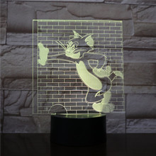 Tom and Jerry Table Lamp Bedroom 3D Illusion Room Decorative Lamp Child Kids Baby Nightlight Dropshipping 2019 Night Light LED цена