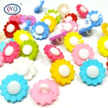 HL 30pcs 15MM Mixed Color Shank Flower Plastic Buttons Childrens Apparel Sewing Accessories DIY Scrapbooking