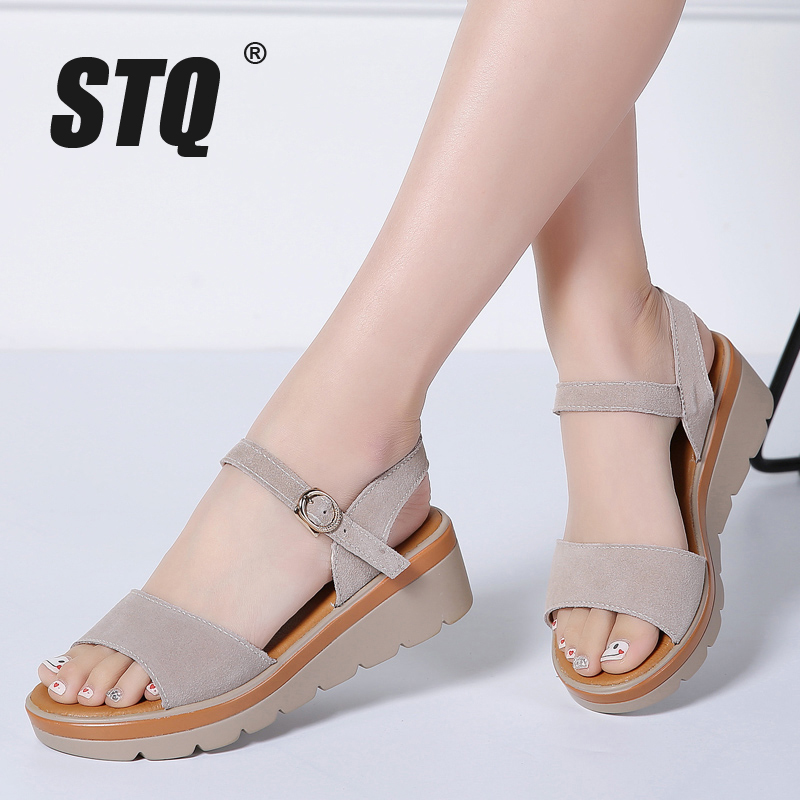 STQ Platform Sandals Heel Ankle-Strap High-Thick Ladies 848 Suede