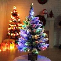 Mini Christmas Tree Artificial Flocking Snow Christmas Tree LED Multicolor Lights Holiday Decoration Arbol De Navidad