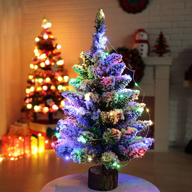 Mini Christmas Tree Artificial Flocking Snow Christmas Tree Led