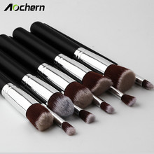Aochern 10Pcs Makeup Brushes Set Pro Powder Blush Foundation Eyeshadow Eyeliner Lip Cosmetic Brushes Kit Beauty Tools #1002