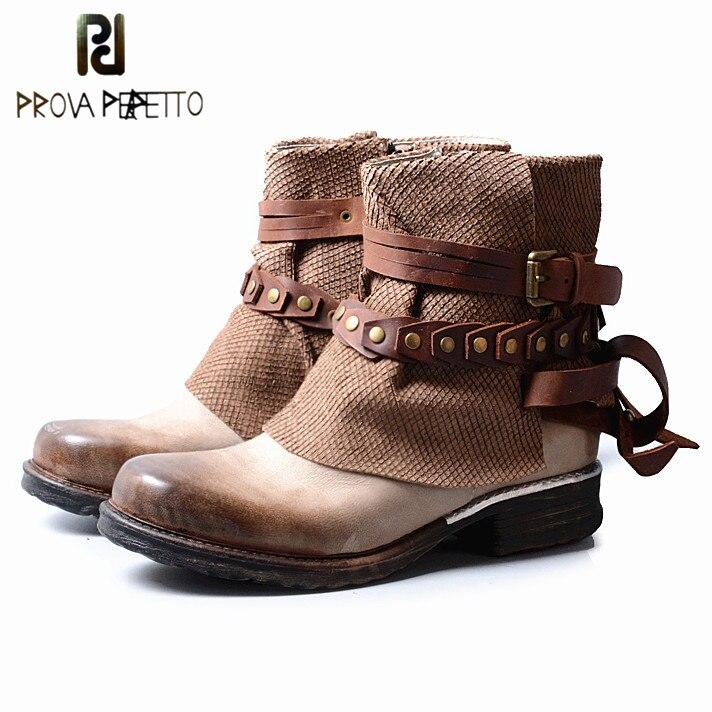 7d7accef7909 Rond Mélange Plat Véritable Bottes Boot Femmes Taille Brown En Métal Prova  Serpent Grey Perfetto light ...