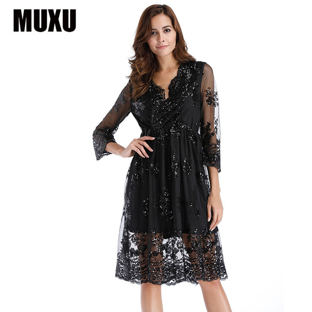 MUXU sexy summer womens clothing party dress sequin glitter vestidos mujer  loose ladies dresses tunic party fashion gold dress cab652a3565d