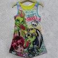 Nueva Moda Niños Monstruo Altas Chicas Vestido Sin Mangas de la Ropa Kids Summer Casual Vestidos de Niños Ropa de Bebé 4-16 años de Edad
