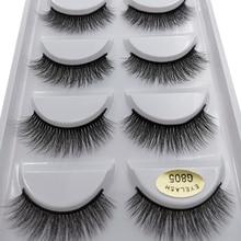 SHIDISHANGPIN 5 pairs mink lashes faux cils make up natural handmade mink eyelashes false eyelash extension makeup maquiagem